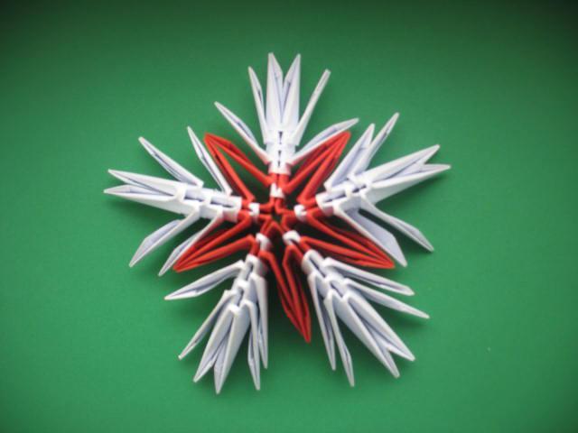 объемные оригами снежинки