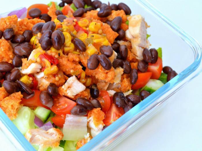 рецепт салат из фасоли с ветчиной и