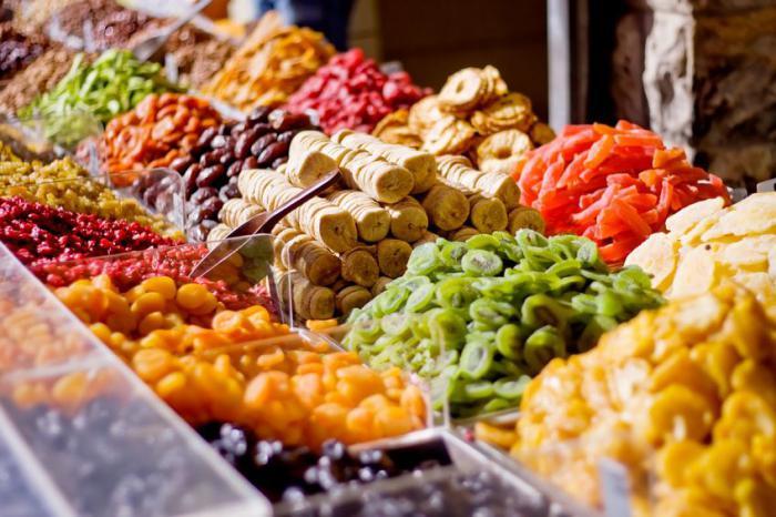 calorie dried fruit table
