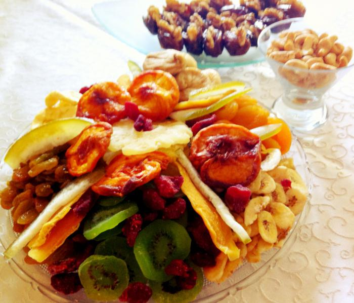 a mixture of dried fruits