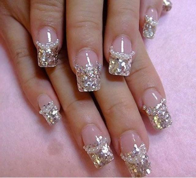 Дизайн ногтей гель лаком пошагово с блестками