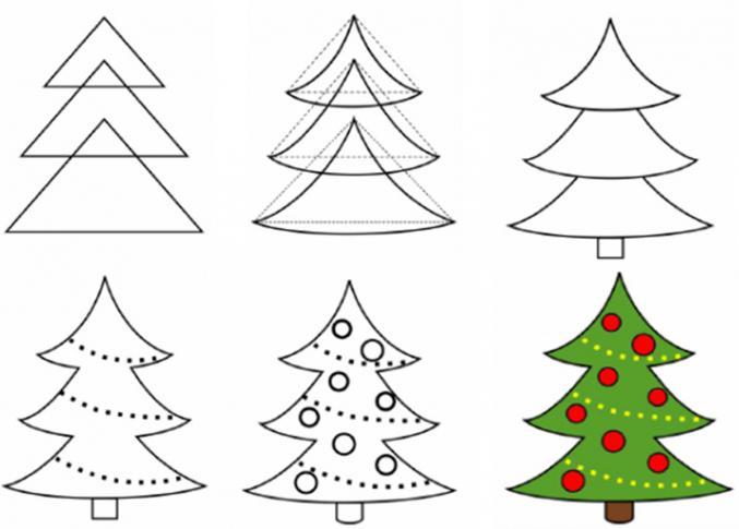 как нарисовать елку карандашом