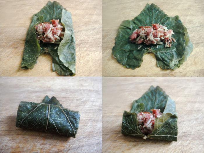 Armenian dolma in grape leaves