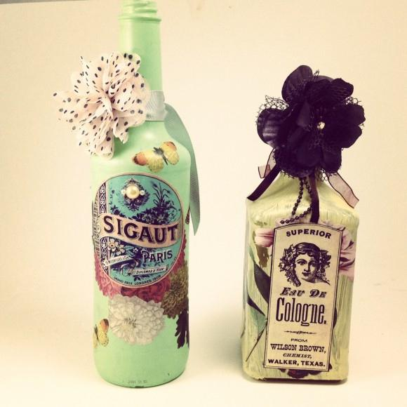 what you need to decoupage the bottle
