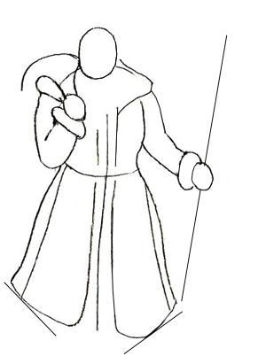 как нарисовать деда мороза на санках поэтапно карандашом