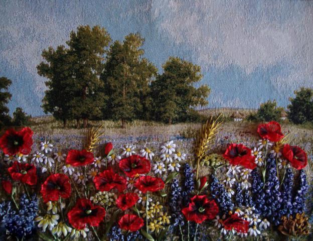 вышивка лентами полевых цветов