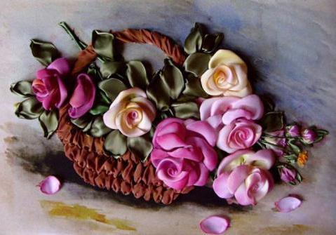 вышивка атласными лентами цветов