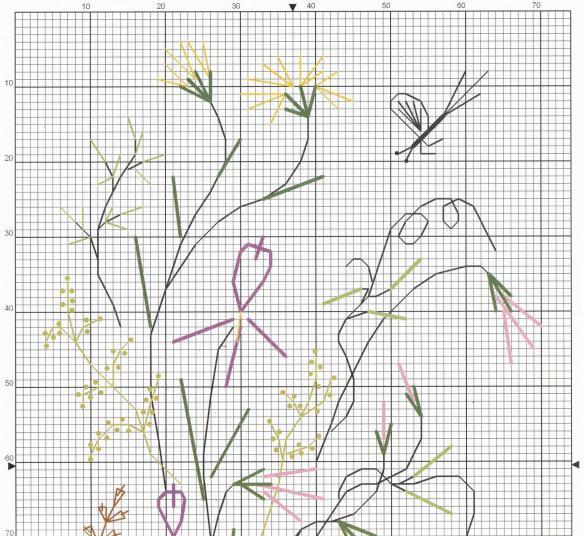 вышивка лентами листья цветов