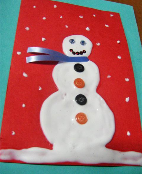 рождественская открытка руками детей