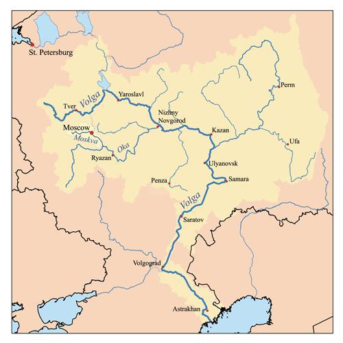 Река ока куда впадает схема