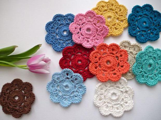 вязание крючком цветов для начинающих