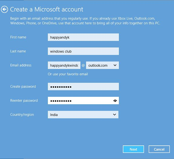 how to create a microsoft account