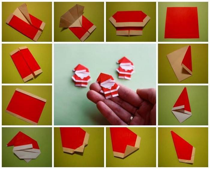 Деды морозы из бумаги оригами
