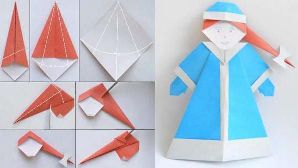 дед мороз оригами схема