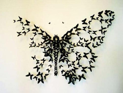 Бабочки на стену схема