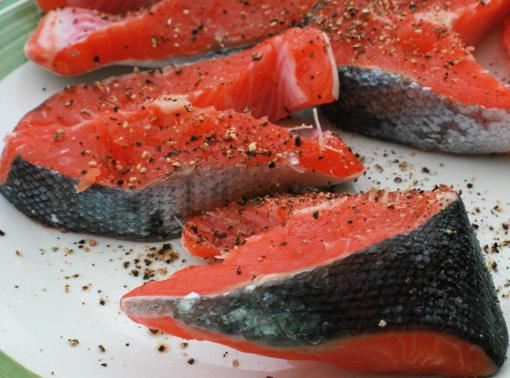 Chinook fish in cooking