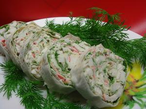 Lavash rolls with crab sticks recipe