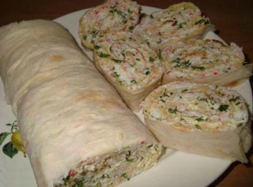 roll of pita with crab sticks calorie