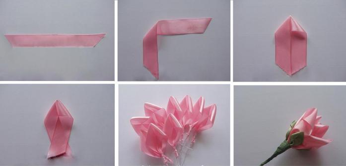 Сделать цветы из атласных лент 16