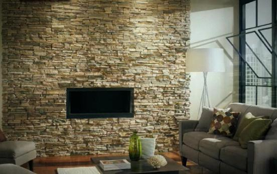 interior decoration of walls with artificial stone
