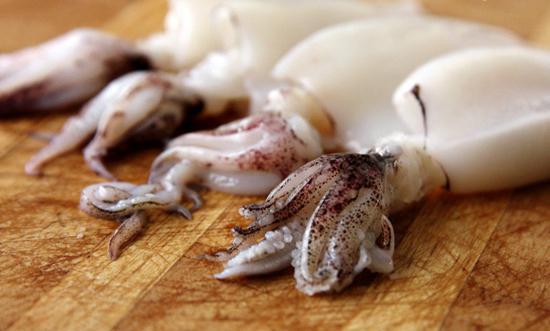 squids stuffed with mushrooms