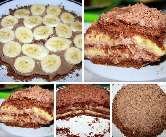 шоколадно банановый торт пряников фото рецепт