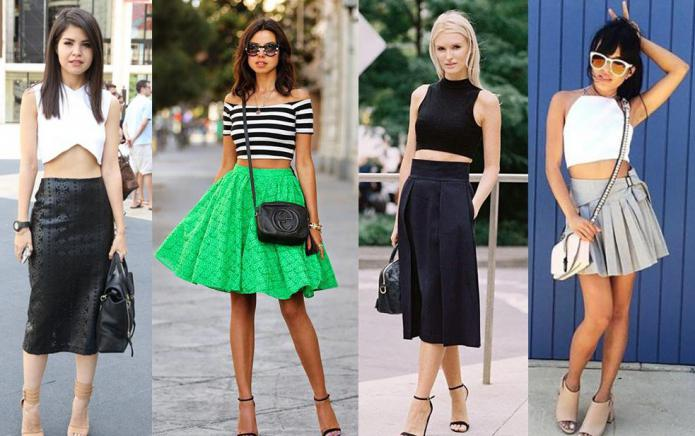 Types of skirts.