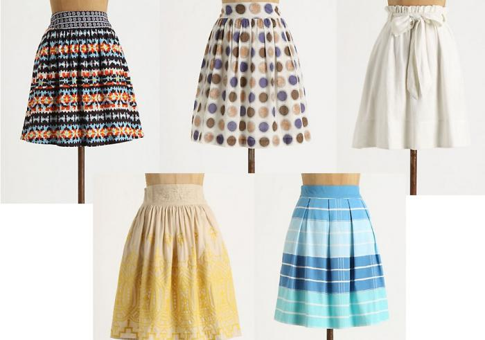 Types of straight skirts.