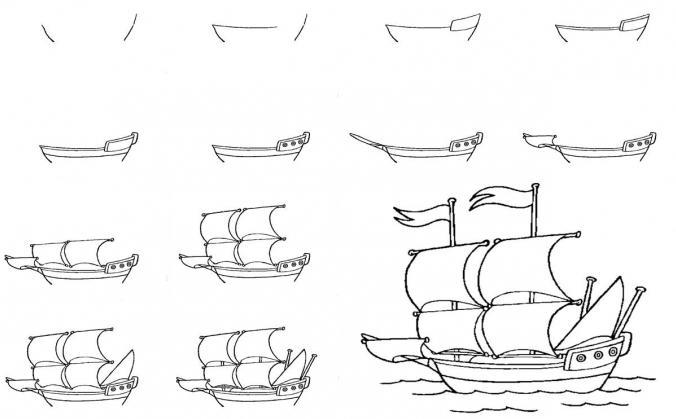 Нарисовать корабль ребенку