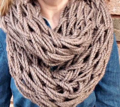 связать шарф хомут круговыми спицами