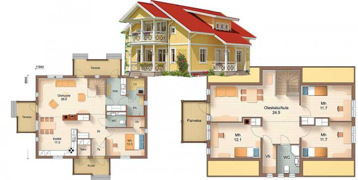 projects of houses with attic floor