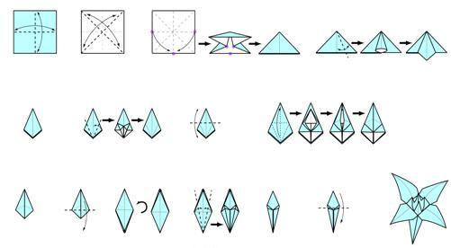Как сделать лилии из бумаги схема