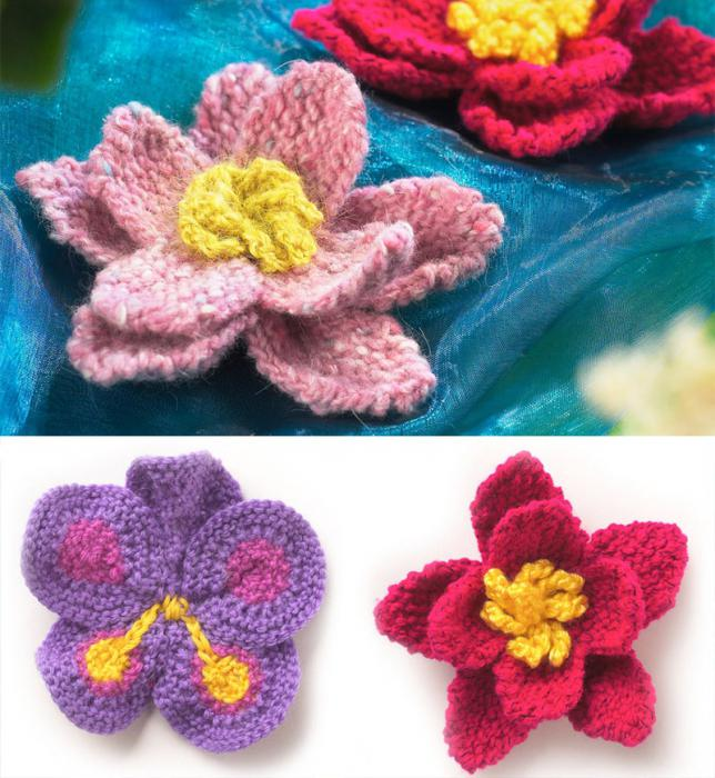 Цветы вязанные спицами для начинающих