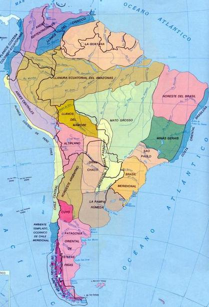 natural areas of South America table