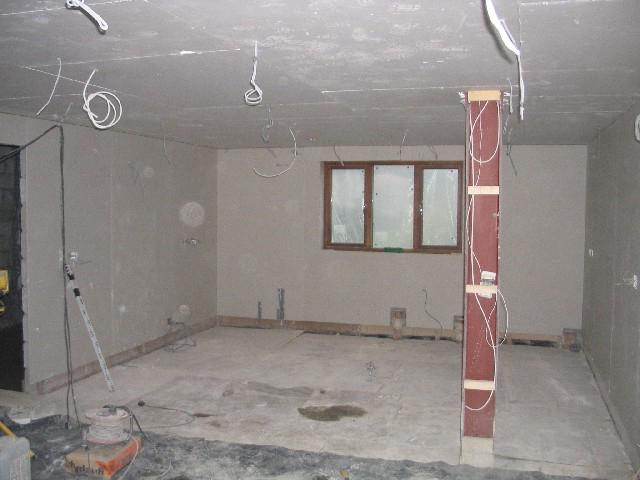 renovated kitchen plasterboard ceiling