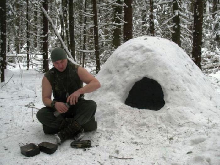 выживание зимой в лесу