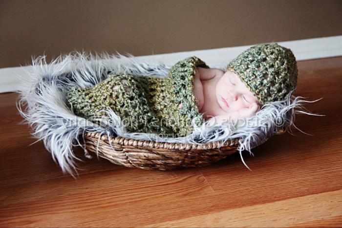 кокон для новорожденных крючком