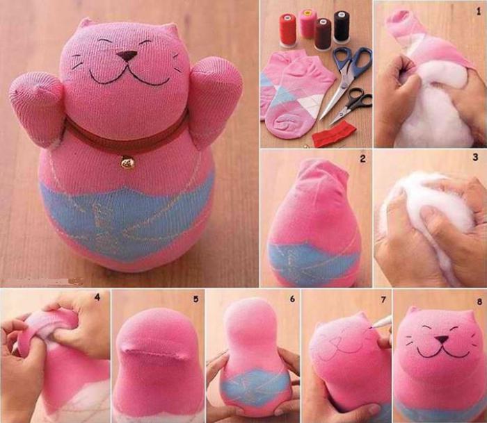 игрушка из носка своими руками котенок