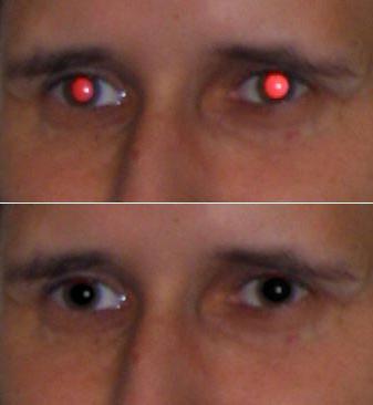 как сделать красные зрачки на фото среди