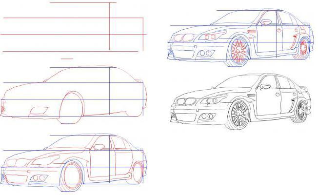 Как нарисовать гоночные машины поэтапно