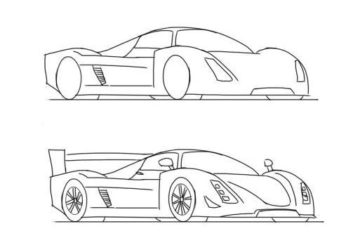 Как нарисовать машину карандашом поэтапно машину гоночную