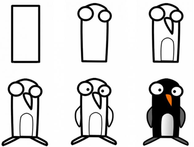 how to draw a penguin step by step