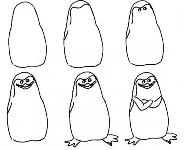 как нарисовать пингвина из