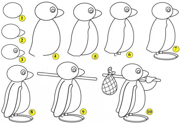 how to draw a penguin step by step with a pencil