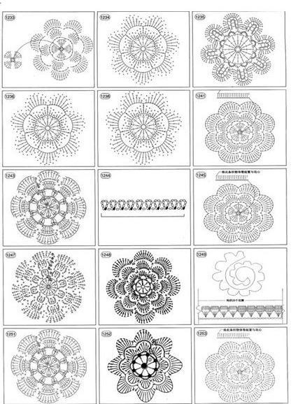 Схема вязания цветочков крючком 21