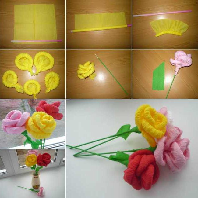 Как сделать розу из салфеток своими руками поэтапно фото