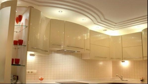 stretch two-level ceilings in the kitchen