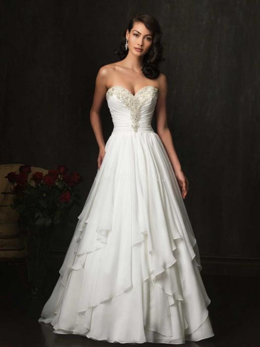 Wedding dress with a fluffy skirt