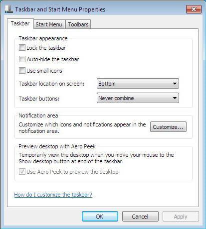 how to remove the taskbar