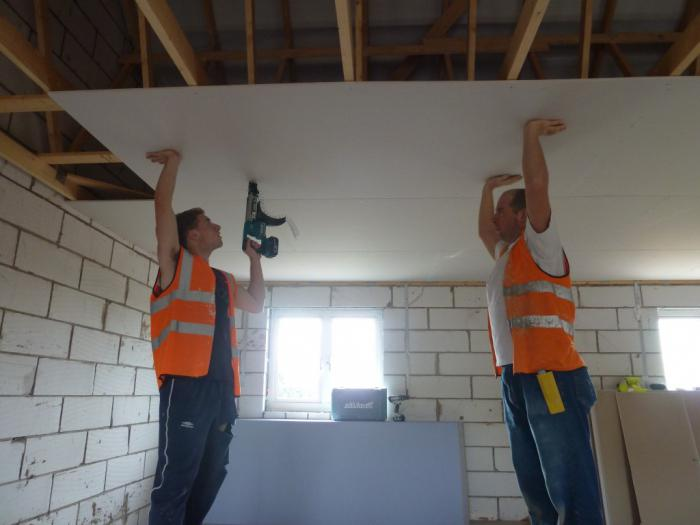 installation of suspended ceiling plasterboard